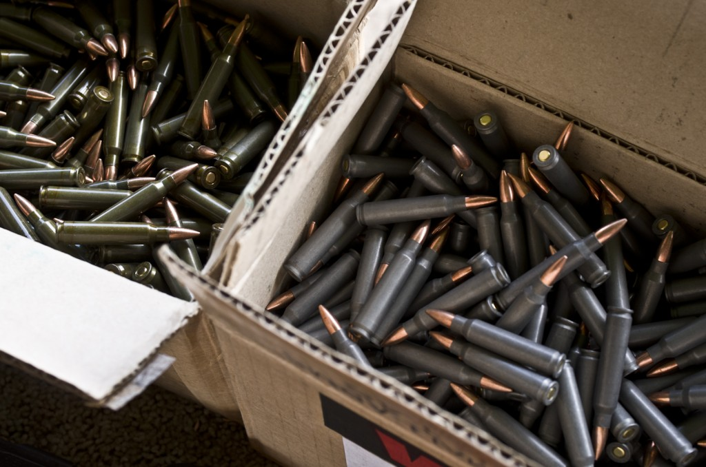 brass vs. steel cartridges piled up.