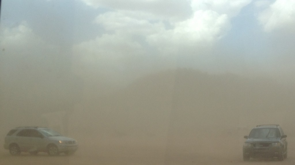 A large dust storm in the Arizona desert that rolled in during the test.