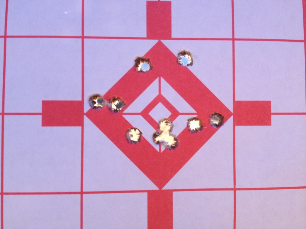 A target showing the size of a grouping.