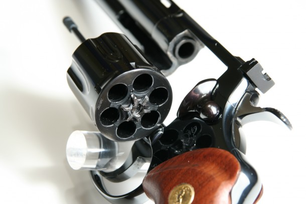 A photo of the Colt Python 357 magnum revolver.