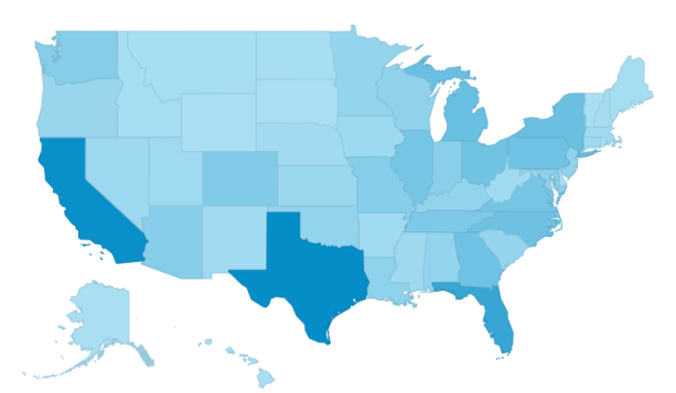 Lucky Gunner visitors by state.